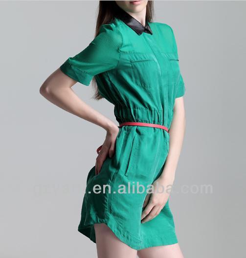 Verde en la gasa de la blusa modelos de blusas para las para mujer 2014