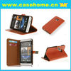 Litchi stria leather case for HTC one m7