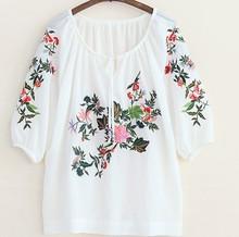 D36104A 2014 autumn national style chiffon fashion design lady blouse
