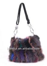 Women's winter knitted Fox Fur Handbags bag