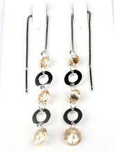 Fashion Long Design Circle Drop Silver Jewelry, Needle Pierce Earrings for Lady