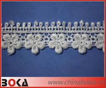 White flower shape embroidery cotton crochet bridal lace trim