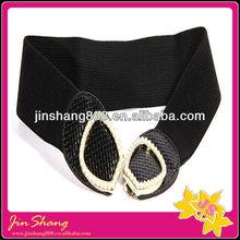 Ladies elastic dressy black stretch belts with rhinestone