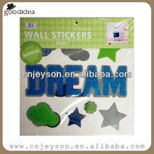 MR026 Atractive design color printed cut mirror wall sticker