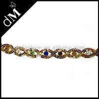 Colorful rhinestone diamante chain trim for evening dresses WTR0112