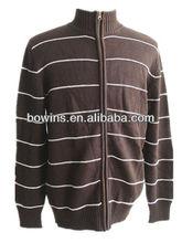 mens long sleeve stand collar 100 cotton zipper sweater