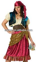 Sexy gypsy girl costume mágico camponês estilo vestido de colete Sash Halloween costume C357