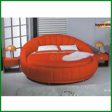 Modern King Size Euro Design White Round Bed G6801#