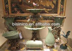 Nouveau porcelain with luxurious brass home decoration ceramic art sets light green series