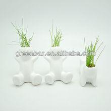 Little grass cabeça brinquedos, grass boneca de cerâmica, verde decoração do jardim