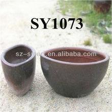 Rustic brown oval shape flower pot