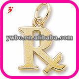 "yiwu wholesale 18k gold alphabet ""R"" alloy charm"