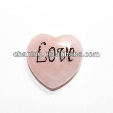 Natural rose quartz heart engrave words hearts