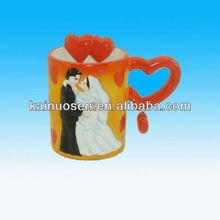 Wedding 3d mug ceramic mug animal mug with heart handle