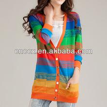 13STC5102 colorful ladies long cardigan knitting patterns