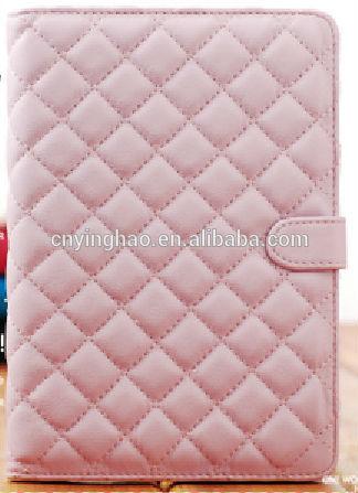 pink grid pu case for mini ipad