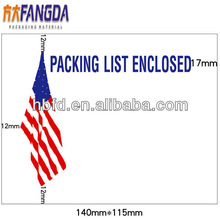 """115*140mm Full printing self-adhesive US FLAG """"PACKING LIST ENCLOSED"""" for US market"""