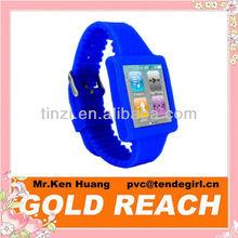 Blue Silicone Sports Watch Band Wrist Strap for iPod Nano 6th