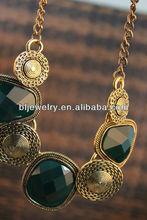 Hot chunky gem necklace, chunky alloy necklace