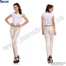 Woman Over printed Lengthens legs 5 pocket skinny denim jeans (LSWPA6698-k)