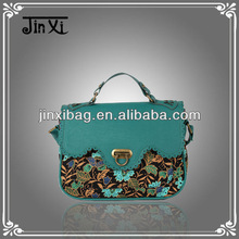 Popular hollow Pu and floral cotton fabric designer handbags 2013
