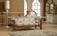 Hand solid wood carving European style chaise EG003