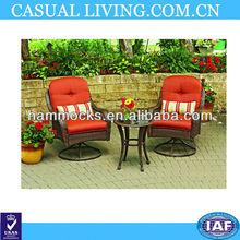 3-Piece Red Brown Outdoor Home Patio Bistro Set Wicker Furniture Deck Garden