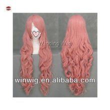 Halloween Cheap Pink Long Curly Vocaloid Luka Cosplay Wig for Party