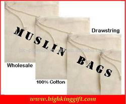 Wholesale 100% Muslin Cotton Drawstring Bag
