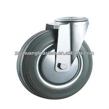 gray rubber swivel wheel braked roller bearing one bolt fixing wheel axle caster