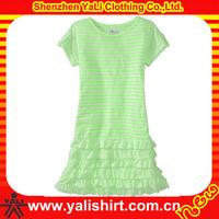 Custom comfortable short sleeve blank plain lace bottom korean dress clothing for girls 2013