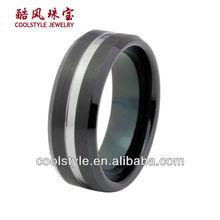 New design tungsten carbide ring, two tone style tungsten carbide ring, brushed and grooved tungsten black men ring
