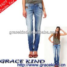 2014 Latest European Factory Direactly Skinny Fade Woman Jeans Denim(GK05130012)