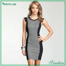 Black Bonded Stripe Knit Sexy Dress