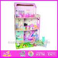 Precioso 2014 de bricolaje de madera juego de la muñeca de la casa, lindo juguete de los niños y casa de juego conjunto, venta caliente niños juego de la muñeca de juguete casa w06a028