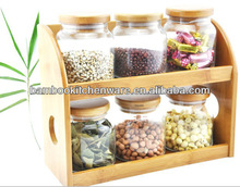 Modern Glass Canister Sets With Wooden Shelf