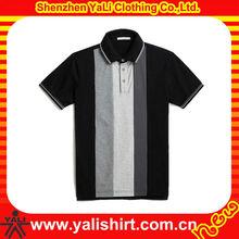 Wholesale new unique rib collar grey and white stripe casual design polo shirt for men 2013