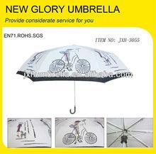 3 fold super slim lady umbrella with PU curved handle