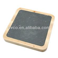 Birch Wood Square Cheese Board w/Slate