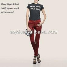 American Style Top Fashion Printed Slogan Girls T Shirt
