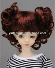 synthetic wigs Japanese heat resistant doll wig red curl with bangs