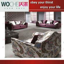 Elegante noble simulado tecido de seda vida sofá da sala de mobiliário WQ885