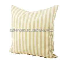 Yellow And Cream Strips Printed Cotton Pillow Cushion