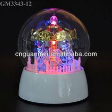 Wholesale led handmade glass music box mini carousel horse