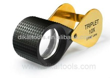 Black and gold distortion-free 10x diamond loupe with rubber grip