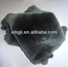 Dyed grey color rex rabbit skin for garment rex skin