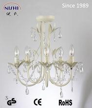 2013 new design 5L acrylic white flower decorative chandelier light by vintage style (NS-120143L)