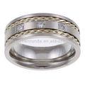 Impresionante de acero inoxidable y plata 1/10ct tdw hombres 3- piedra del anillo de bodas