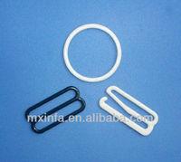 Nylon coated bra belt slider and buckle