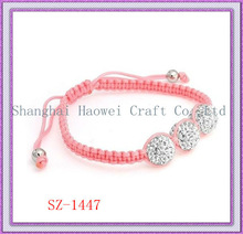 Hot Selling! SZ-1446 Shamballa Beads Bracelet;Hand-Knitted Bracelet;Pink Weave Paracord Bracelet;Kids Love Ornaments